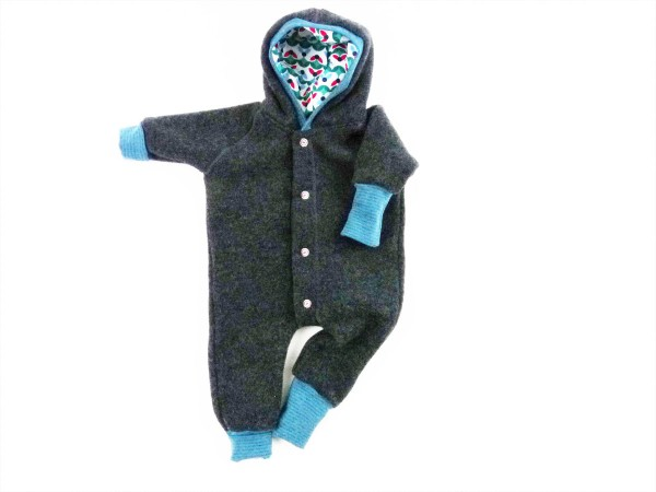 Kuscheliger Baby Wollfleeceoverall Ringel Petrol