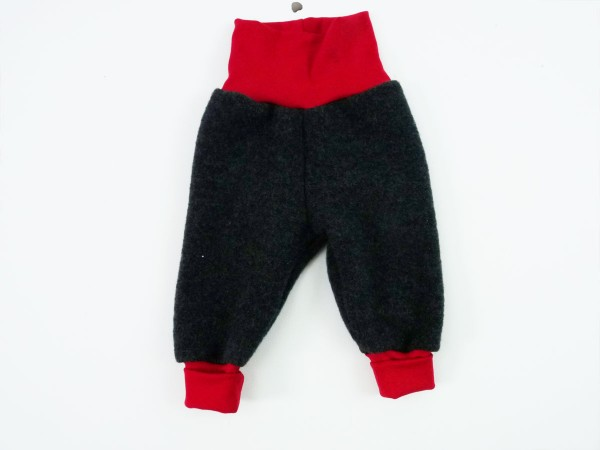 Babyhose Wollfleece anthrazit-rot